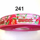 "5 yard - 7/8"" Sweet Strawberry Shortcake Pink and White Stripe Grosgrain"