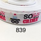 """5 yard - 7/8"""" So Cute It's A Crime with Police Car on White Grosgrain Ribbon"""