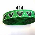 "5 yard - 7/8"" Green Polka Dot Minnie Mouse inspired Grosgrain Ribbon"