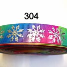 "5 yard - 1"" Big Silver Snowflake on Multi Color Grosgrain Ribbon"