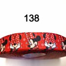 "5 yard - 7/8"" Peek A Boo Minnie Mouse inspired Red Grosgrain Ribbon"