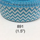 "5 yard - 1.5"" Aqua Blue and White Zig Zag Grosgrain Ribbon"