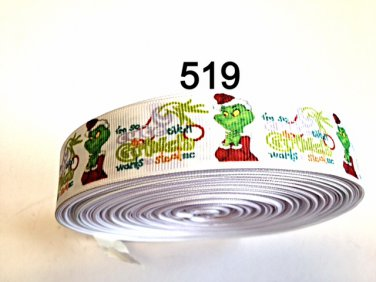 "5 yard - 1"" Christmas I'm so cute even Grinch want to steal me on White Grosgrain Ribbon"