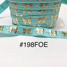 "5 yard - 5/8"" Gold Gold Bow on Aqua Blue Fold Over Elastic"