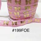"5 yard - 5/8"" Gold Gold Bow on Pink Fold Over Elastic"