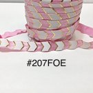 "5 yard - 5/8"" Gold, Pink and White Fold Over Elastic"