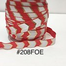 "5 yard - 5/8"" Gold, Red and White Fold Over Elastic"