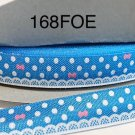 "5 yard - 5/8"" White Polka Dot with Pink Bow Blue Fold Over Elastic"