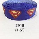 """5 yard - 1.5"""" Super Hero Letter S For Super Boy or Girl on Blue Grosgrain Ribbon"""