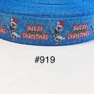 "5 yard - 7/8"" Merry Christmas Olaf The Snowman on Blue Grosgrain Ribbon"