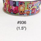 "5 yard - 1.5"" Shopkins Striped and Polka Dot Motif Grosgrain Ribbon"