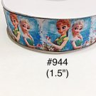 "5 yard - 1.5"" Frozen Princess Elsa and Anna with Blue Background Grosgrain Ribbon"