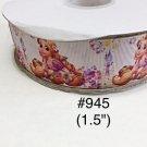 "5 yard - 1.5"" Princess Rapunzel Flower and Purple Castle on White Grosgrain Ribbon"