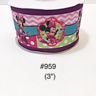 """5 yard - 3"""" Minnie Mouse with Pink Chevron and Polka Dot Motif Grosgrain Ribbon"""