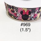 "5 yard - 1.5"" Minnie Mouse Polka Dot, Striped and Zig Zag Motif Grosgrain Ribbon"
