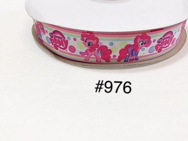 "5 yd - 7/8"" My Little Pony Pinkie Pie Polka Dot on White Grosgrain Ribbon"
