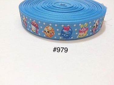 "5 yard -  7/8"" Shopkins Polka Dot on Blue Grosgrain Ribbon"