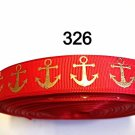 "5 yard - 7/8"" Nautical Gold Anchor on Red Grosgrain Ribbon"