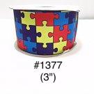 """5 yard - 3"""" Autism Awareness Puzzle Motif Jumbo Grosgrain Ribbon"""