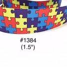 """5 yard - 1.5"""" Autism Awareness Puzzle Motif Grosgrain Ribbon"""