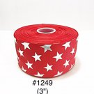 "5 yard - 3"" Silver Foil Star Red Jumbo Grosgrain Ribbon"