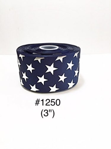 "5 yard - 3"" Silver Foil Star Royal Blue Jumbo Grosgrain Ribbon"
