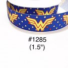 "5 yard - 1.5"" Super Hero Wonder Woman Star Motif on Blue Grosgrain Ribbon"