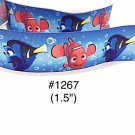 "5 yard - 1.5"" Finding Nemo and Dory Fish Bubble Blue Grosgrain Ribbon"