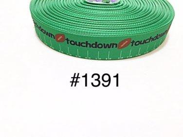 "5 yard - 7/8"" Sport Football Field and Ball ""Touchdown"" on Green Grosgrain Ribbon"