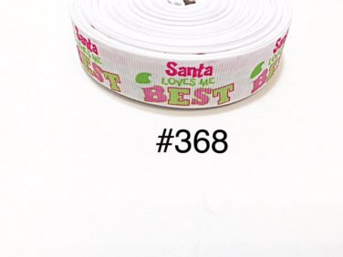 "5 yard - 7/8"" Christmas Santa Loves Me Best White Grosgrain Ribbon"