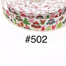 "5 yard - 7/8"" Christmas Owl wearing Santa Hat with Christmas Tree White Grosgrain Ribbon"