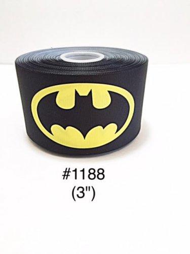 "5 yard - 3"" Super Hero Batman on Black Jumbo Grosgrain Ribbon"