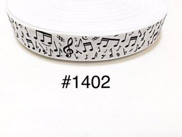 "5 yard - 7/8"" Music Musical Note on White Grosgrain Ribbon"
