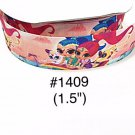 "5 yard - 1.5"" Shimmer and Shine with Monkey on Magic Carpet on Reddih Orange Grosgrain Ribbon"