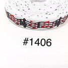 """5 yard - 7/8"""" Music Red and Black Musical Note on White Grosgrain Ribbon"""
