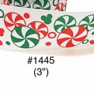 "5 yard - 3"" Christmas Mickey Mouse Peppermint Jumbo White Grosgrain Ribbon"