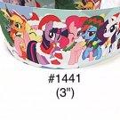 "5 yard - 3"" Christmas My Little Pony and Friends wear Santa Hat Jumbo Grosgrain Ribbon"