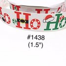 "5 yard - 1.5"" Christmas Santa Ho Ho Ho on White Grosgrain Ribbon"