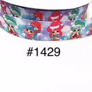 "5 yard - 1"" Christmas Shopkins Shoppie Wearing Santa Hat Light Blue Grosgrain Ribbon"