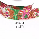 "5 yard - 1.5"" Christmas Gingerbread wearing Stanta Hat, Candy Polka Dot and Striped Grosgrain Ribbon"