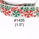 "5 yard - 1.5"" Christmas Peppermint Mickey Mouse on White Grosgrain Ribbon"