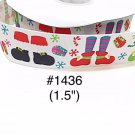 "5 yard - 1.5"" Christmas Santa and Elf with Present and Snowflake Motif on White Grosgrain Ribbon"
