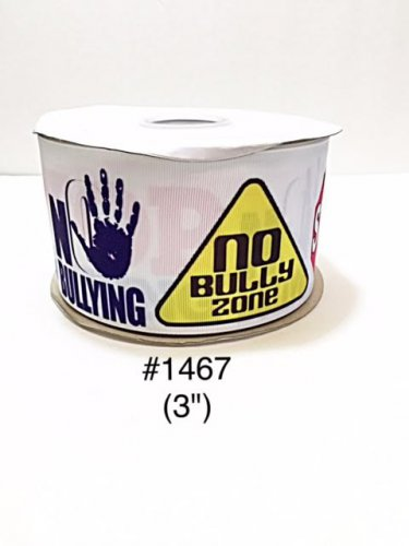 "5 yard - 3"" School No Bully Zone Jumbo White Grosgrain Ribbon"