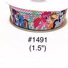"5 yard - 1.5"" My Little Pony Zig Zag and Flower Motif on White Grosgrain Ribbon"