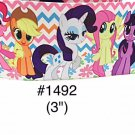 "5 yard - 3"" My Little Pony and Friends Zig Zag and Flower Motif Jumbo Grosgrain Ribbon"