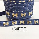 "5 yard - 5/8"" Gold Gold Bow on Dark Blue Fold Over Elastic"