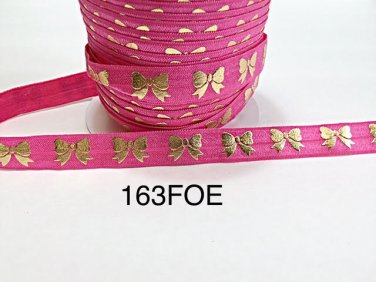 "5 yard - 5/8"" Gold Gold Bow on Hot Pink Fold Over Elastic"
