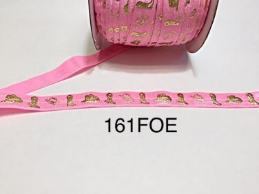 "5 yard - 5/8"" Gold Gold Cowboy Boot and Hat on Pink Fold Over Elastic"
