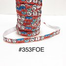 "5 yard - 5/8"" Blue Cat In The Hat with Thing 1 and 2 Red Fold Over Elastic"