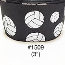 "5 yard - 3"" Volley Ball Sport on Black Jumbo Grosgrain Ribbon"